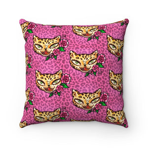 Leopard Kitty • Faux Suede Pillow