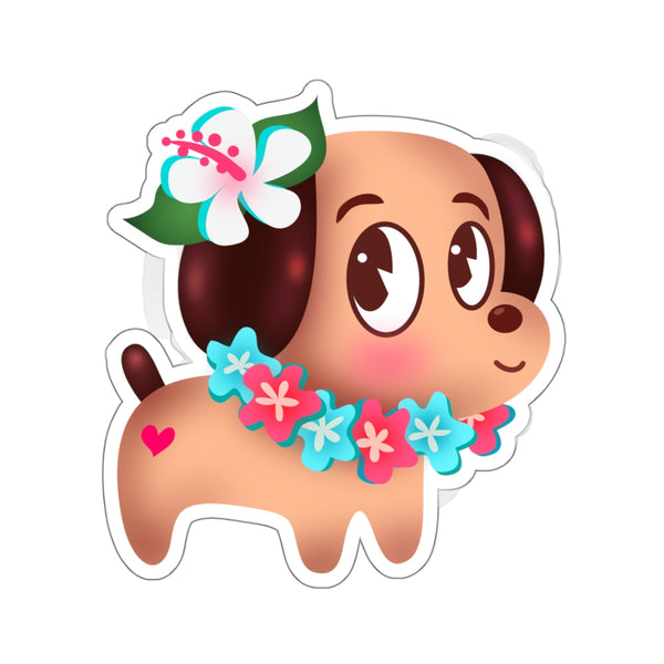 Tropical Island Doggy • Kiss-Cut Sticker