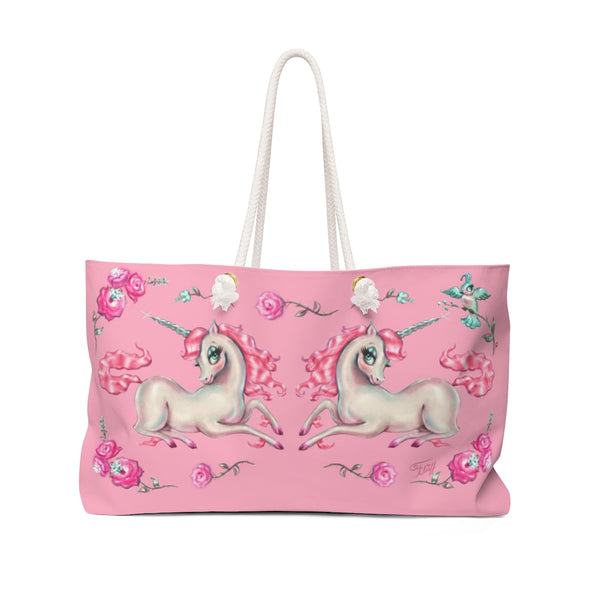 Unicorns and Roses on Pink  • Weekender Bag
