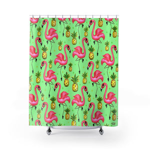 Flamingos and Pineapples • Shower Curtain