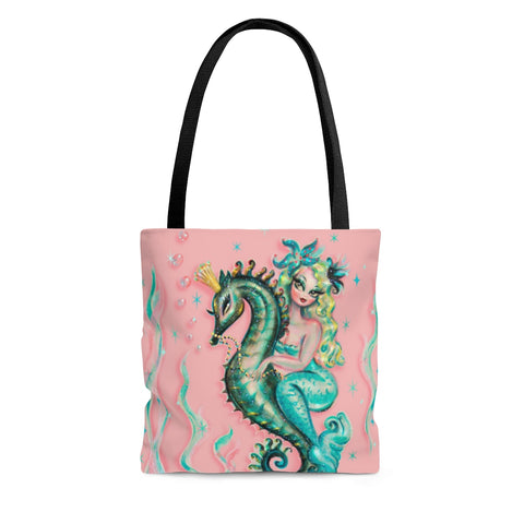 Blue Mermaid Riding a Seahorse Prince • Tote Bag