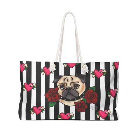 Tattoo Pug with Roses on Stripes  • Weekender Bag