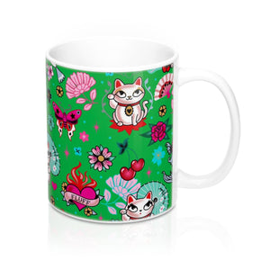 Lucky Cat on Green • Mug 11oz