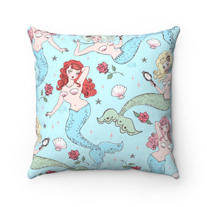 Mermaids and Roses on Aqua • Square Pillow