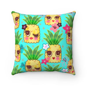 Happy Kawaii Cute Pineapples on Aqua • Square Pillow