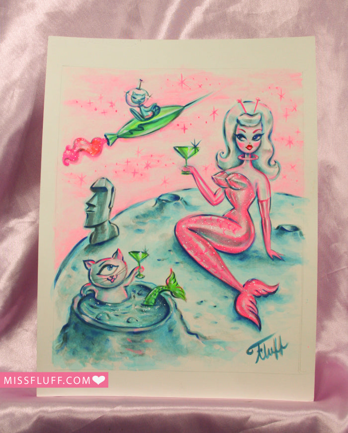 Alien Mermaid with Cyclops Kitty in Moon Crater- Original Drawing 8x10