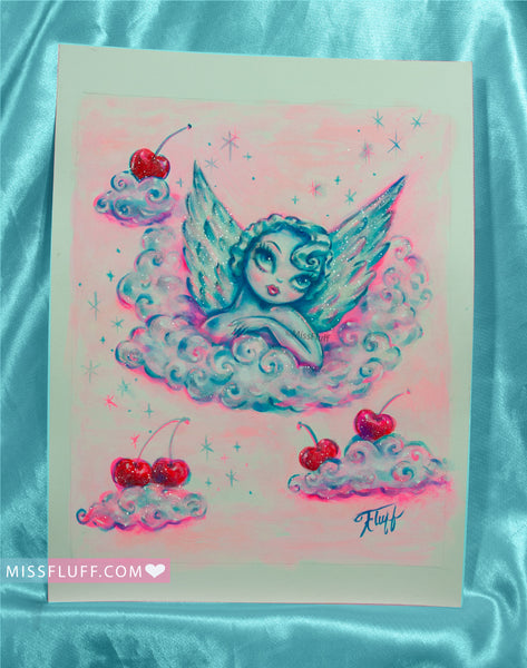 Angel on Cloud with Cherries- Original Drawing 8x10