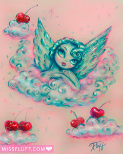 Angel on a Cloud with Cherries • Art Print
