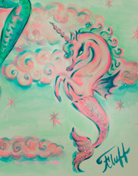 Aqua Mermaid with Unicorn Seahorse - Original Drawing 9x12