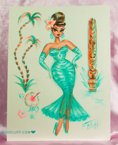 Aqua Tiger Print Showgirl with Tiki- Original Drawing 9x12