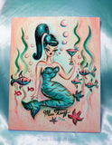 Aqua Tiger Stripe Mermaid with Martini- Original Painting