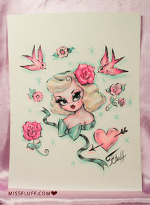 Blonde Dolly with Mint Bow - Original Drawing 8x10