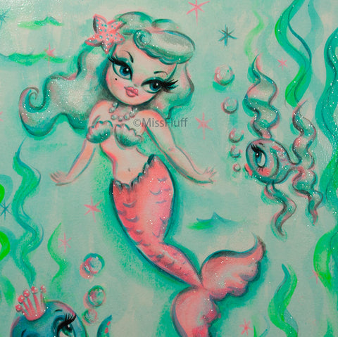 Babydoll Mermaid with Octopus Prince - Original Painting 11x14