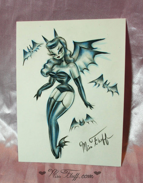 Vampire Bat Burlesque Doll- Original Drawing 6x8