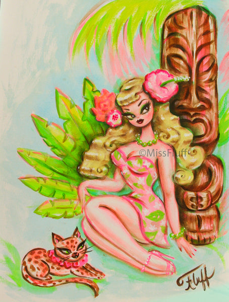 Blonde Tiki Girl with Wild Island Kitty - Original Drawing 9x12