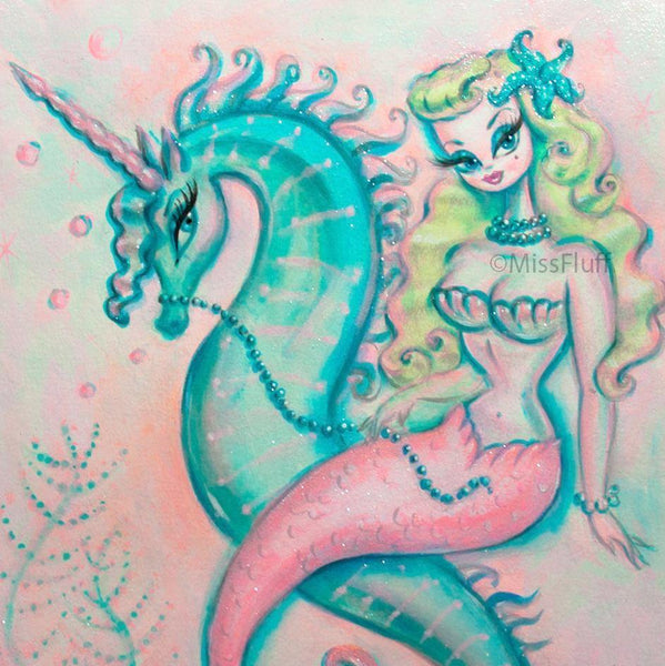 Blonde Mermaid Riding a Unicorn Seahorse- Original Drawing