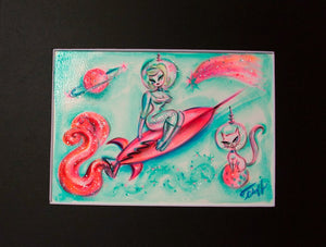 Blonde on a Rocket and Space Kitty - Original 5x7