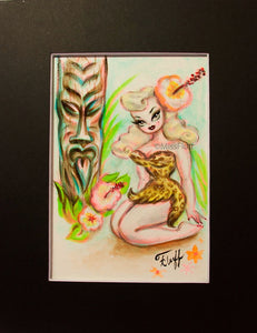Blonde Glamour Girl with Tiki - Original 5x7