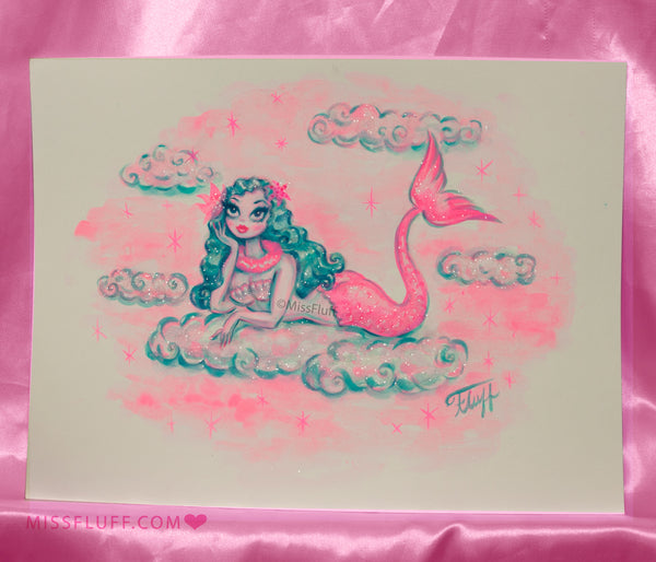 Magical Blue Haired Mermaid Lounging on a Cloud- Original Drawing 9x12