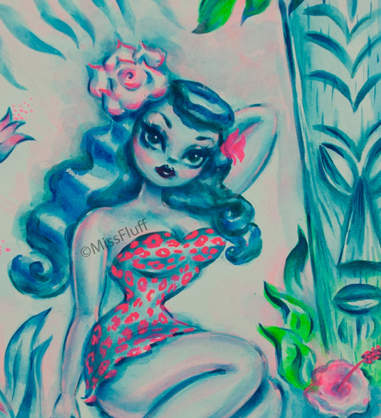 Blue Island Maiden and Tiki - Original Drawing 8x10