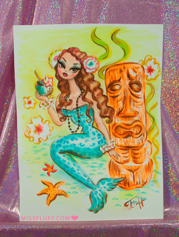 Blue Leopard Mermaid with Tiki Cocktail - Original Drawing 9x12