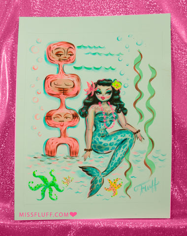 Blue Leopard Mermaid with Tiki - Original Drawing 8x10