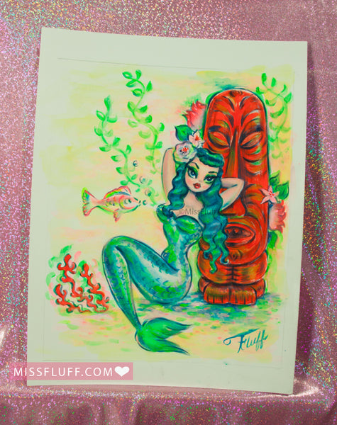 Blue Mermaid with Red Tiki - Original Drawing 9x12