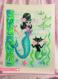 Blue Leopard Tiki Mermaid with Merkitty - Original Drawing 8x10