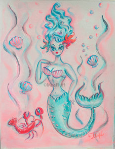 Blue Mermaid with Lobster - Original Drawing 11x14