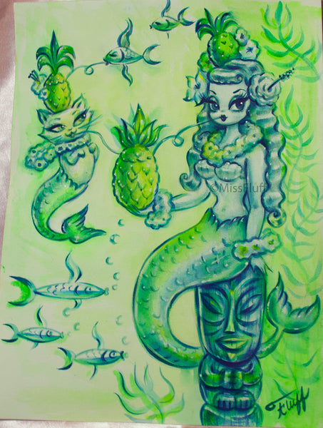 Tropical Mermaid with Merkitten and Pineapple Cocktails - Original Drawing 9x12