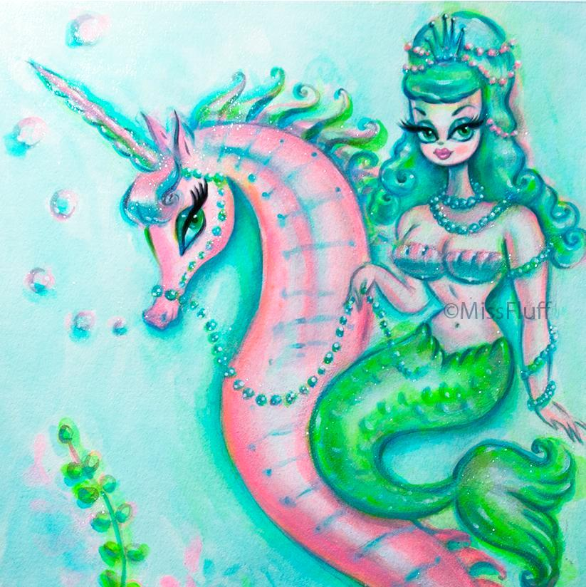 Mermaid with Candy Turquoise Hair Riding a Unicorn Seahorse- Original Drawing