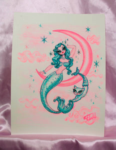 Blue Mermaid with Merkitty on the Moon - Original Drawing 8x10