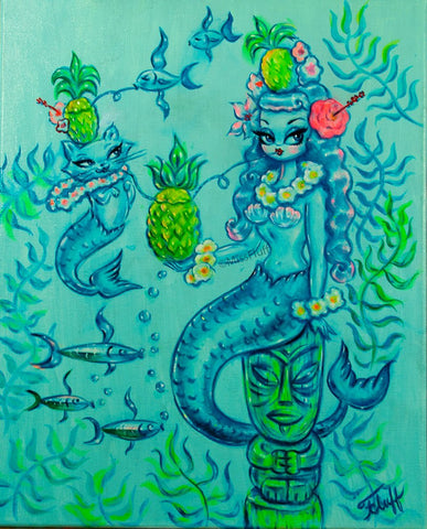 Blue Mermaid with Merkitty & Pineapple Cocktails - Original on Canvas 16 x 20