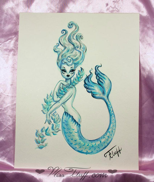 Blue Mermaid with Seaweed Boa - Original Drawing 11x14