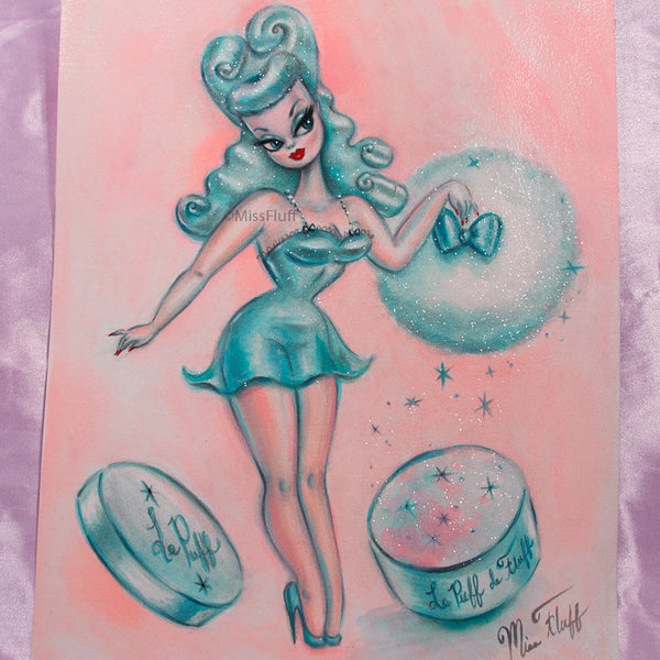 Candy Blue Powder Puff Pinup Doll - Original 11x14