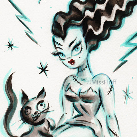 Bride of Frankenstein with Kitty Igor- Original Drawing