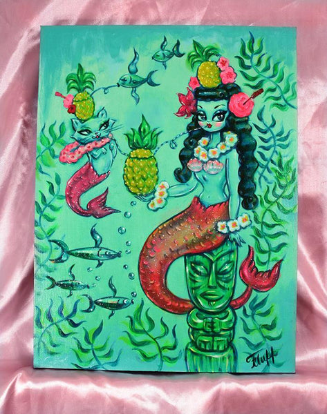 Mermaid with Merkitty sharing a Pineapple Cocktail - One of a kind -Hand Painted Canvas 12 x 16