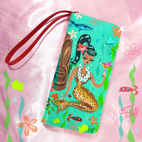 Brunette Leopard Martini Mermaid • Clutch Wallet