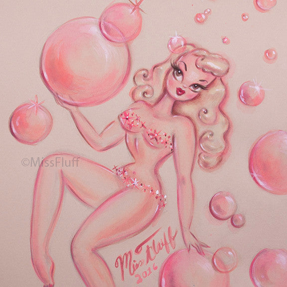 Blonde Bubble Doll- Original Drawing