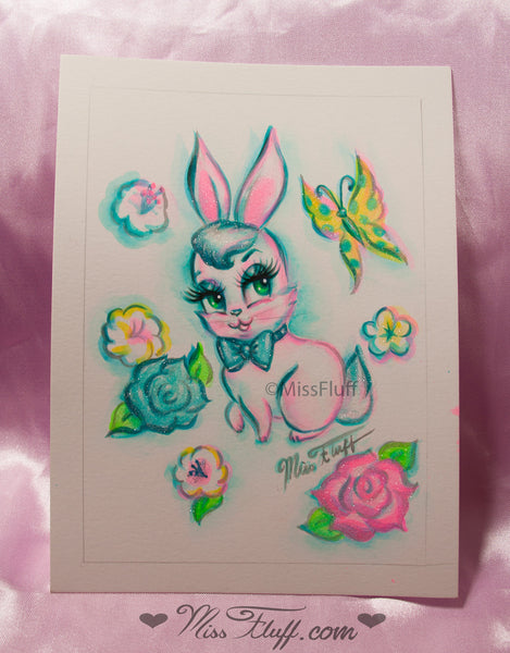 Bunny with Butterfly- Original Drawing 5x7
