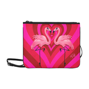 Flamingo Love • Slim Large Clutch Bag