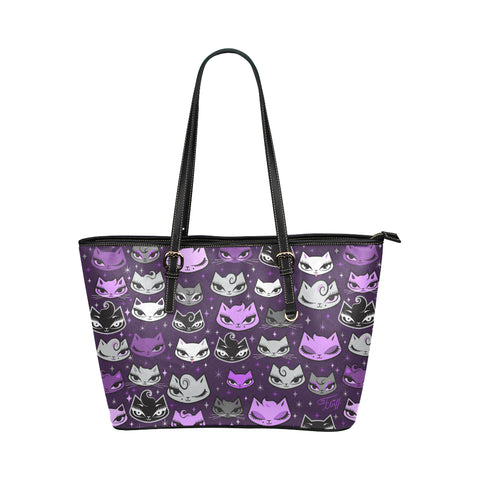 Billy Cats Purple • Faux Leather Tote Purse