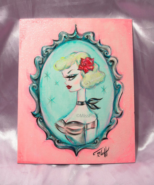 Blonde with Red Rose -Cameo Doll- Original Painting