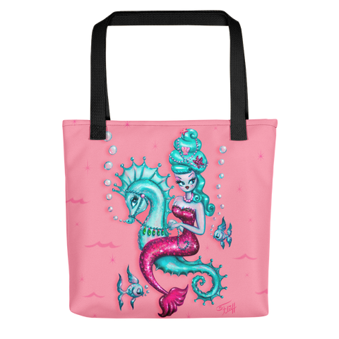 Mermaid with Candy Blue Bouffant • Tote Bag