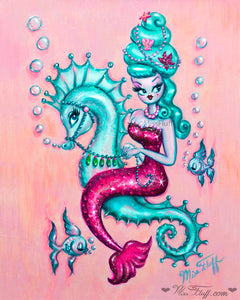 Mermaid with Candy Blue Bouffant • Art Print