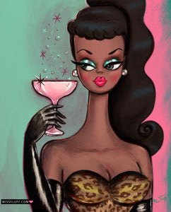Brunette with Pink Champagne • Art Print