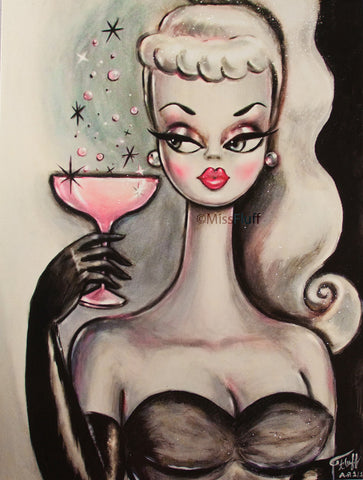 Pink Champagne Doll • Limited Edition Hand Embellished Canvas Print