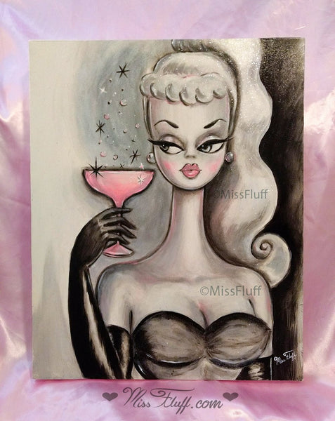 Doll with Pink Champagne- Original Painting