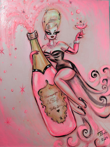 Pink Champagne Dream • Limited Edition Hand Embellished Canvas Print