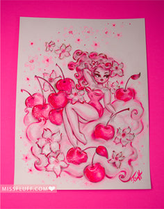 Cherry Blossom Girl- Original Drawing 9x12
